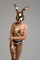 Slim girl in bdsm lingerie and mask shot