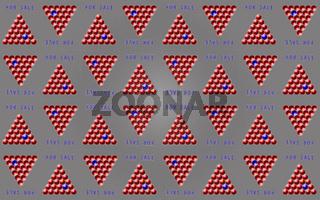 Muster 'FOR SALE' mit Pyramiden aus roten Kugeln