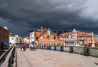 House On The Bridge Public House at Windsor with approaching Storm