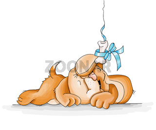 Vector Illustration funny cute red dog resting