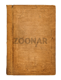 Old worn book cover with ornamental pattern isolated on white background