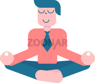 Office meditation. Businessman sitting in yoga lotus pose, relax and hovering in the air. Vector cartoon flat character on white background.