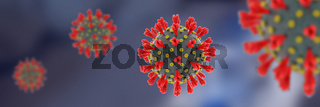 New coronavirus with on black background wide banner.
