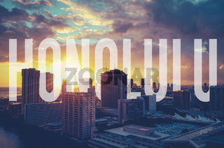 Retro Filtered Honolulu With Text