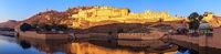 Amber fort in Jaipur, India, peaceful sunrise panorama