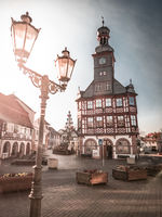 city hall with street light at sunset, lorsch, germany