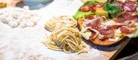 Traditional Italian cuisine. Preparation of Bucatini pasta in Rome, Italy.