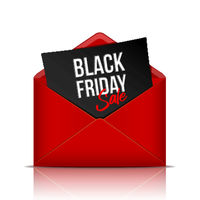 Black Friday inscription on black paper sheet in realistic red envelope .