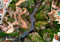 Aerial photo of breathtaking Ronda village, Spanish province of Málaga. Most-visited destination famous popular place for tourists vacationers, southern Spain