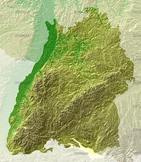 Baden-Württemberg - topografische Relief Karte