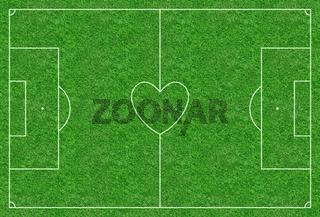 Fußballplatz mit Mittelkreis in Herzform