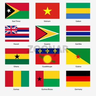 Set  Flags of world sovereign states. Vector illustration. Set number 4.