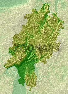Hessen - topografische Relief Karte