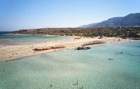 Aerial bird's-eye view from drone on Elafonisi sandy beach on Crete.  Greece.
