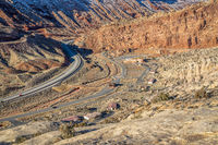 aerial view of Moab Fault with entry to Arches National Park