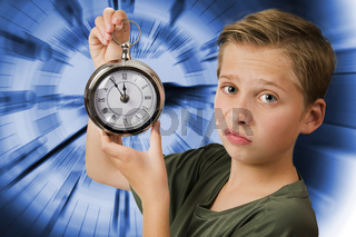 Disgruntled look with clock blue background