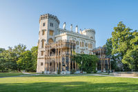 Beautiful renaissance castle Hluboka in the Czech Republic is located in south bohemia. Summer wether with blue sky and rose gardens