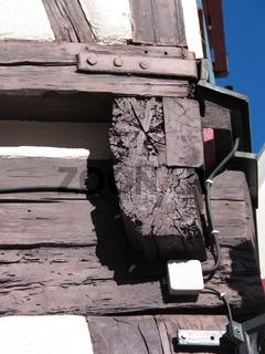 Eckdetail einer Fachwerkfassade