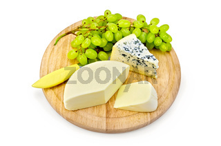 Cheese blue and suluguni with grapes