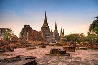 Night in brick ruins of buddhist temple