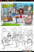 cartoon people in the city coloring book page