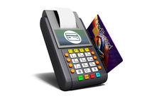 Payment of goods by the terminal with credit card 3d render on white background with shadow