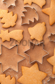 Sweet Christmas Background With Homemade Gingerbreads