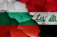 flags of Bulgaria and Iraq painted on cracked wall