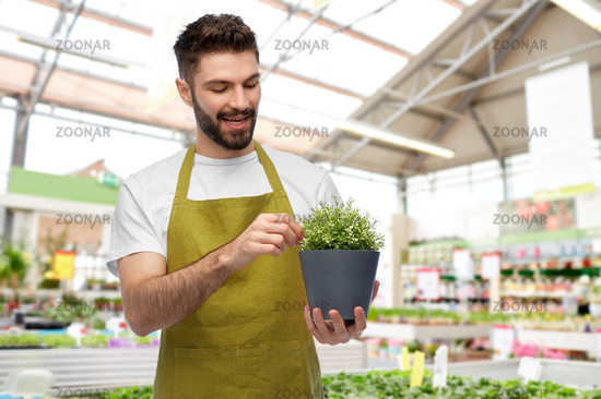 smiling male gardener with flower in pot at shop