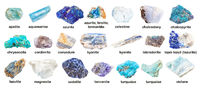 set of various blue unpolished stones with names