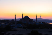 Sunrise silhouette of Hagia Sophia Mosque, Istanbul, Turkey