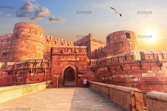 Red Agra Fort, main gate, Uttar Pradesh, India
