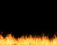 Fire on black isolated background.