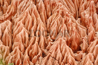 Sandstone formations and needles in Tsingy Rouge Park in Madagascar