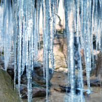 Ice and melted blue icicles