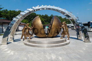 Monument at the third tunnel in the DMZ between North and South Korea as a symbol of unification