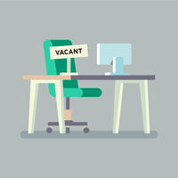 Composition with office chair Computer table and a sign vacant. Business hiring and recruiting concept. Vector illustration