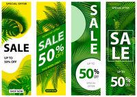 Satz von 4 Verkaufsfahnen mit tropischen Blättern