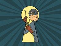 Keyhole peeping thief burglar with the keys