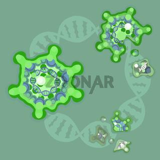 Virus DNA Breaking Cartoon