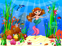 Little mermaid in the underwater world