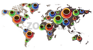 World map with coffee
