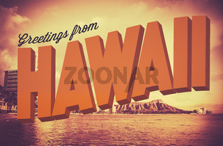 Retro Greetings From Hawaii Postcard