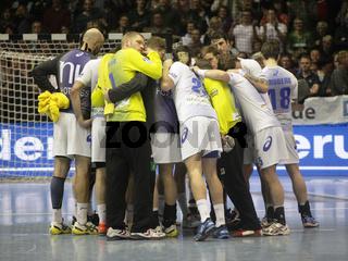 Teambesprechung HSV Handball im Spiel SC Magdeburg-HSV Handball 29.Spieltag Bundesliga Saison 13/14