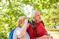 Senioren Paar als Naturfreunde mit Fernglas