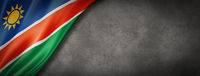 Namibian flag on concrete wall banner