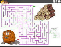 maze educational game with beaver and wood logs