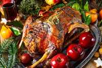 tender  juicy Christmas goose with crispy skin