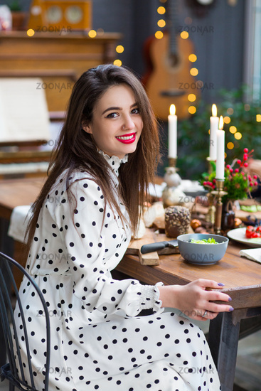 Beautiful smiling girl celebrating Christmas
