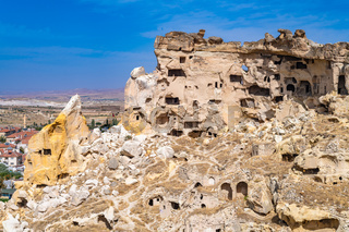 Cavusin ruined rock village in Cappadocia, Turkey.